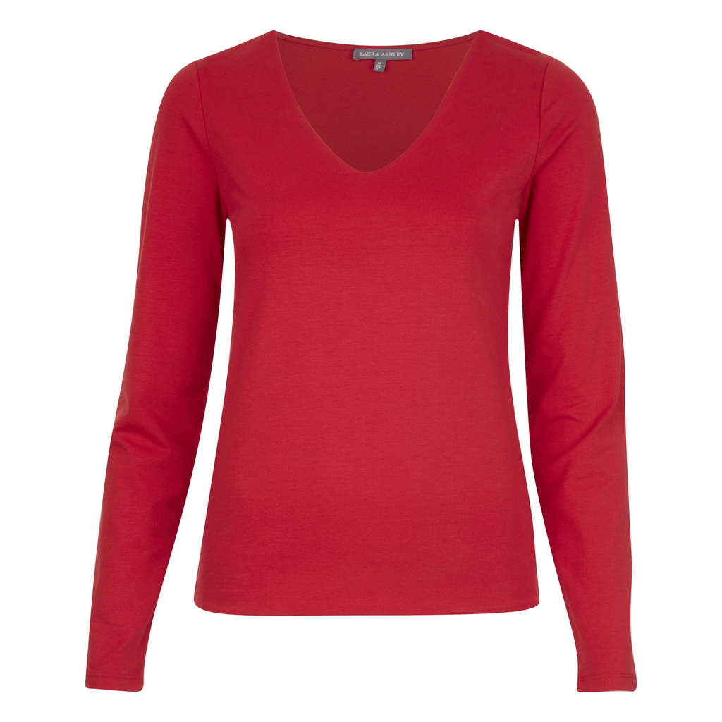 Double Front V Neck Top - neckline: v-neck; pattern: plain; predominant colour: true red; occasions: casual; length: standard; style: top; fibres: cotton - mix; fit: body skimming; sleeve length: long sleeve; sleeve style: standard; pattern type: fabric; texture group: jersey - stretchy/drapey; season: a/w 2016; wardrobe: highlight