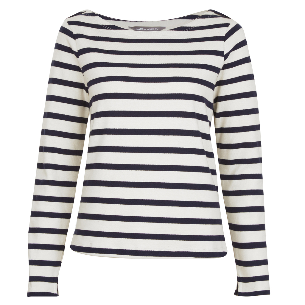 Long Sleeve Breton Stripe Top - pattern: horizontal stripes; predominant colour: white; secondary colour: black; occasions: casual; length: standard; style: top; fibres: cotton - mix; fit: body skimming; neckline: crew; sleeve length: long sleeve; sleeve style: standard; pattern type: fabric; texture group: jersey - stretchy/drapey; multicoloured: multicoloured; wardrobe: basic; season: a/w 2016