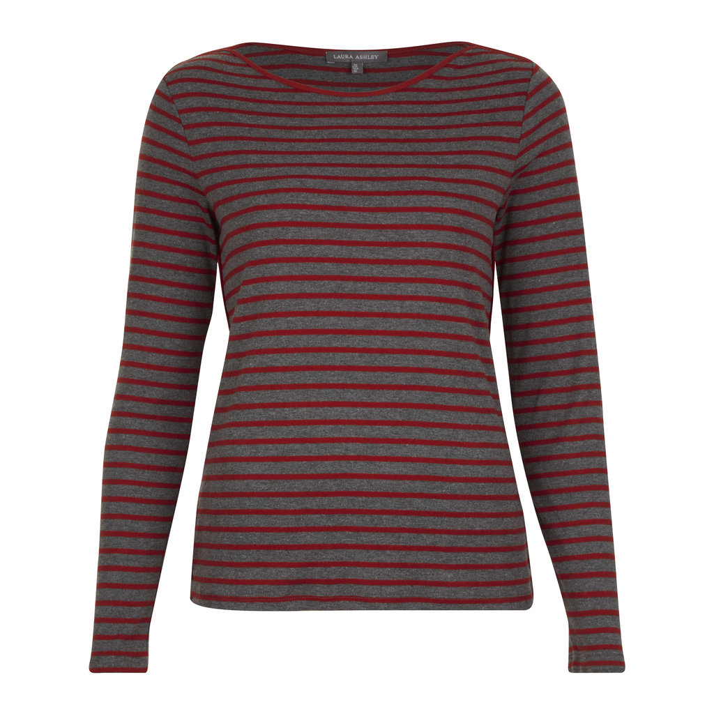 Stripe Crew Neck Top - neckline: round neck; pattern: horizontal stripes; predominant colour: burgundy; occasions: casual, creative work; length: standard; style: top; fibres: cotton - mix; fit: body skimming; sleeve length: long sleeve; sleeve style: standard; pattern type: fabric; texture group: jersey - stretchy/drapey; pattern size: big & busy (top); season: a/w 2016; wardrobe: highlight