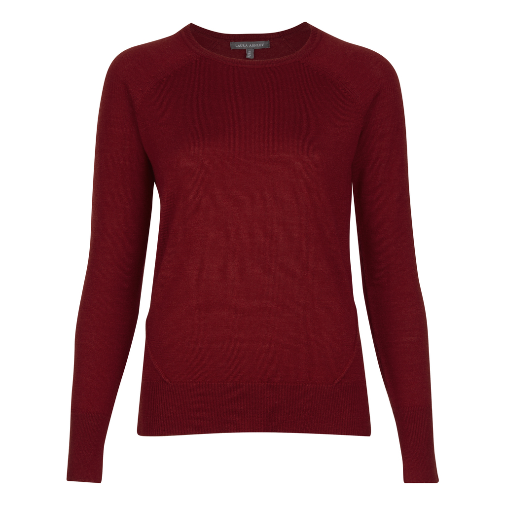 Dipped Hem Wool And Silk Jumper - pattern: plain; style: standard; predominant colour: burgundy; occasions: casual; length: standard; fibres: wool - mix; fit: standard fit; neckline: crew; sleeve length: long sleeve; sleeve style: standard; texture group: knits/crochet; pattern type: knitted - other; season: a/w 2016