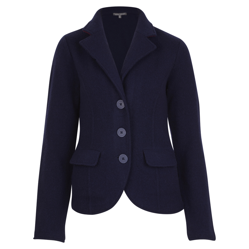 Boiled Wool Blazer Style Cardigan - neckline: v-neck; pattern: plain; predominant colour: navy; occasions: casual; length: standard; style: standard; fibres: wool - 100%; fit: slim fit; sleeve length: long sleeve; sleeve style: standard; pattern type: fabric; texture group: woven light midweight; season: a/w 2016; wardrobe: highlight