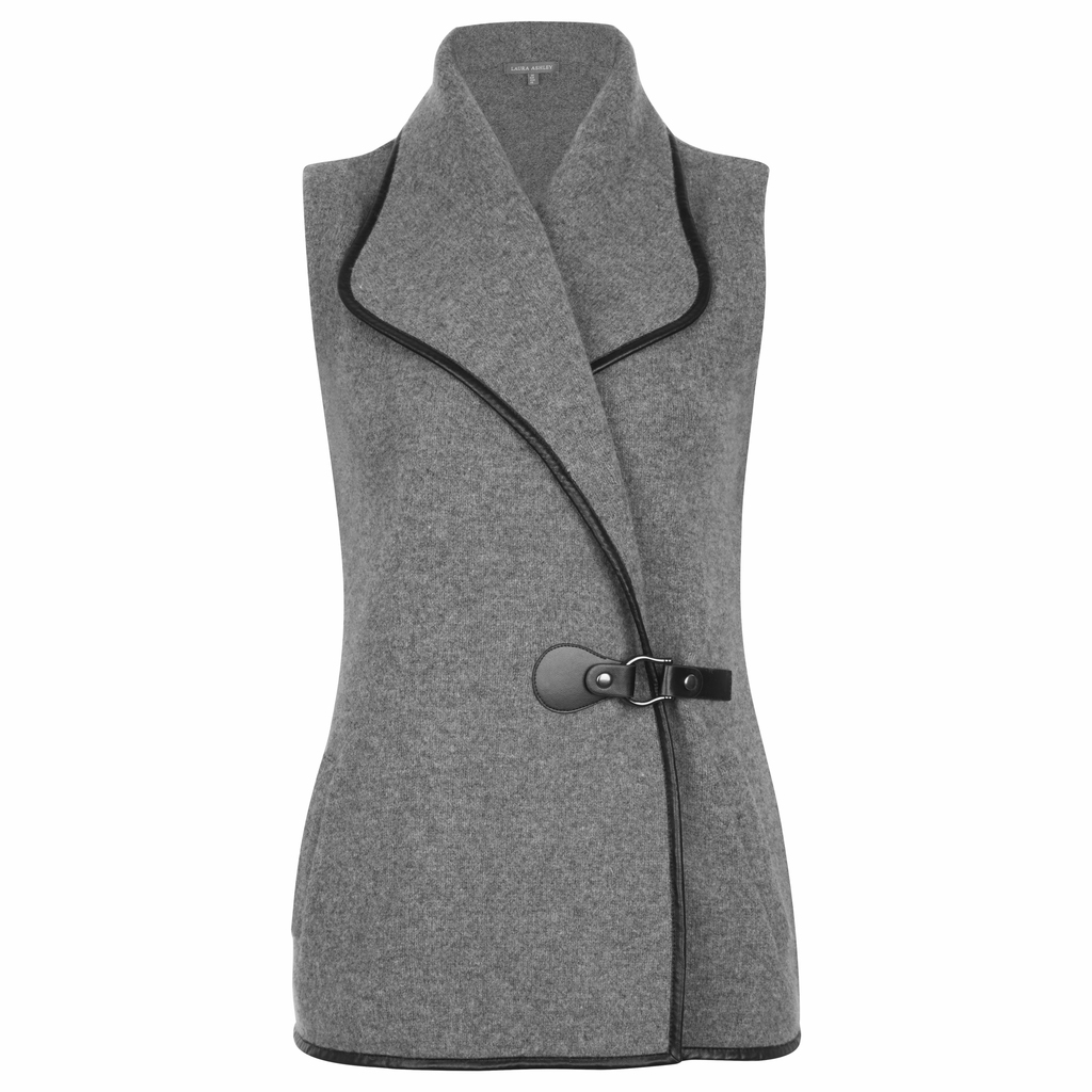 Lambswool Buckle Biker Gilet - pattern: plain; sleeve style: sleeveless; style: gilet; fit: slim fit; collar: standard lapel/rever collar; predominant colour: charcoal; secondary colour: black; occasions: casual; length: standard; fibres: wool - mix; sleeve length: sleeveless; collar break: medium; pattern type: fabric; texture group: woven bulky/heavy; season: a/w 2016; wardrobe: highlight