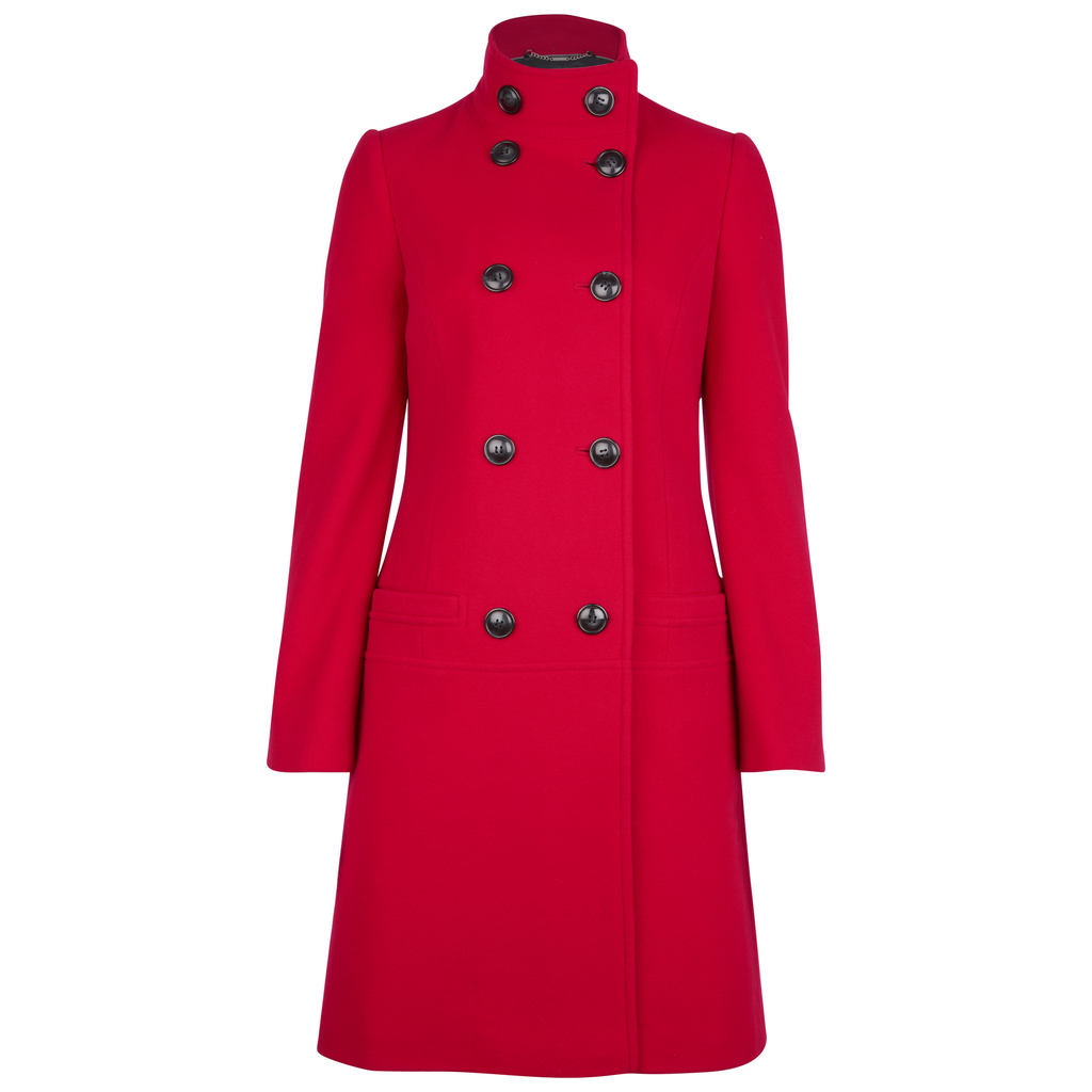 Funnel Neck Double Breasted Coat - pattern: plain; collar: funnel; style: double breasted; length: mid thigh; predominant colour: true red; secondary colour: true red; fit: tailored/fitted; fibres: wool - mix; sleeve length: long sleeve; sleeve style: standard; collar break: high; pattern type: fabric; texture group: woven bulky/heavy; occasions: creative work; season: a/w 2016; wardrobe: highlight