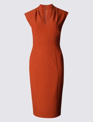 Stretch Sleeveless Bodycon Dress - style: shift; neckline: v-neck; sleeve style: capped; fit: tailored/fitted; pattern: plain; predominant colour: terracotta; occasions: evening, occasion; length: on the knee; fibres: polyester/polyamide - stretch; sleeve length: short sleeve; texture group: crepes; pattern type: fabric; season: a/w 2016; wardrobe: event