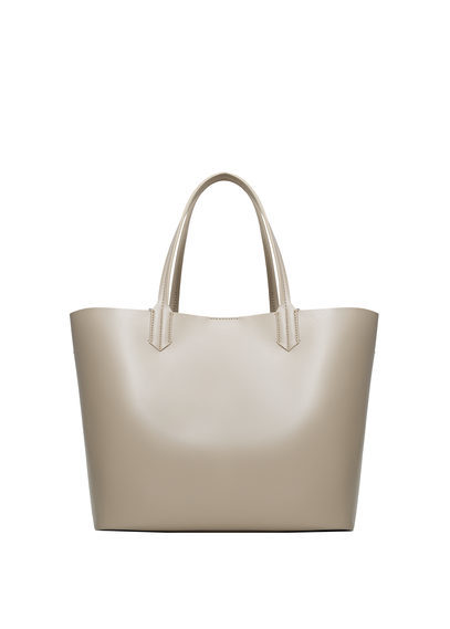 Faux Leather Shopper Bag - predominant colour: stone; occasions: casual, creative work; type of pattern: standard; style: tote; length: handle; size: standard; material: leather; pattern: plain; finish: plain; wardrobe: investment; season: a/w 2016