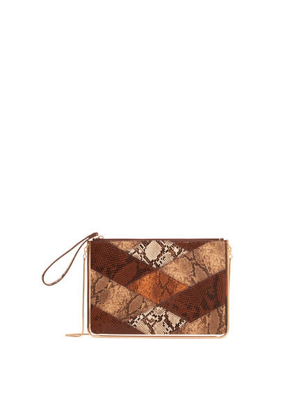Snake Effect Zip Clutch - predominant colour: tan; secondary colour: stone; occasions: casual; type of pattern: light; style: clutch; length: hand carry; size: small; material: faux leather; pattern: animal print; finish: plain; season: a/w 2016
