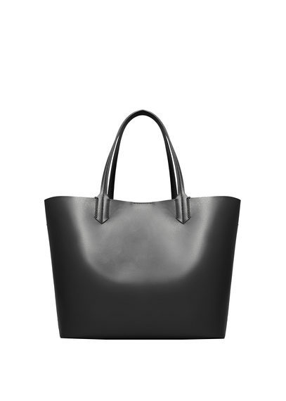 Faux Leather Shopper Bag - predominant colour: black; occasions: work, creative work; type of pattern: standard; style: tote; length: handle; size: standard; material: leather; pattern: plain; finish: plain; wardrobe: investment; season: a/w 2016