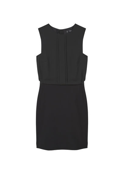 Contrasting Dress - style: shift; fit: tailored/fitted; pattern: plain; sleeve style: sleeveless; predominant colour: navy; occasions: evening; length: just above the knee; fibres: polyester/polyamide - 100%; neckline: crew; sleeve length: sleeveless; pattern type: fabric; texture group: woven light midweight; season: a/w 2016