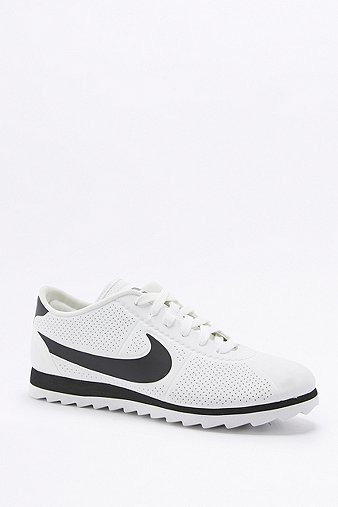 Cortez Ultra Moire White And Black Trainers, White - predominant colour: white; secondary colour: black; occasions: casual; material: fabric; heel height: flat; toe: round toe; style: trainers; finish: plain; pattern: plain; shoe detail: tread; season: a/w 2016