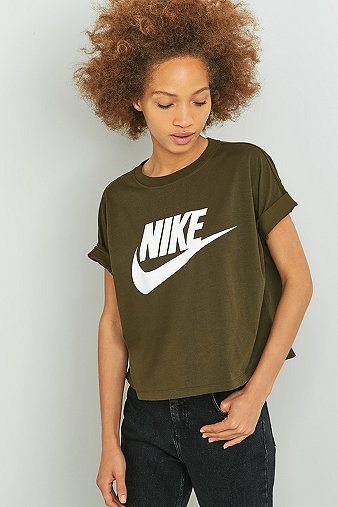 Signal Khaki Cropped T Shirt, Khaki - style: t-shirt; secondary colour: white; predominant colour: khaki; occasions: casual; length: standard; fibres: cotton - 100%; fit: body skimming; neckline: crew; sleeve length: short sleeve; sleeve style: standard; pattern type: fabric; texture group: jersey - stretchy/drapey; pattern: graphic/slogan; multicoloured: multicoloured; season: a/w 2016; wardrobe: highlight