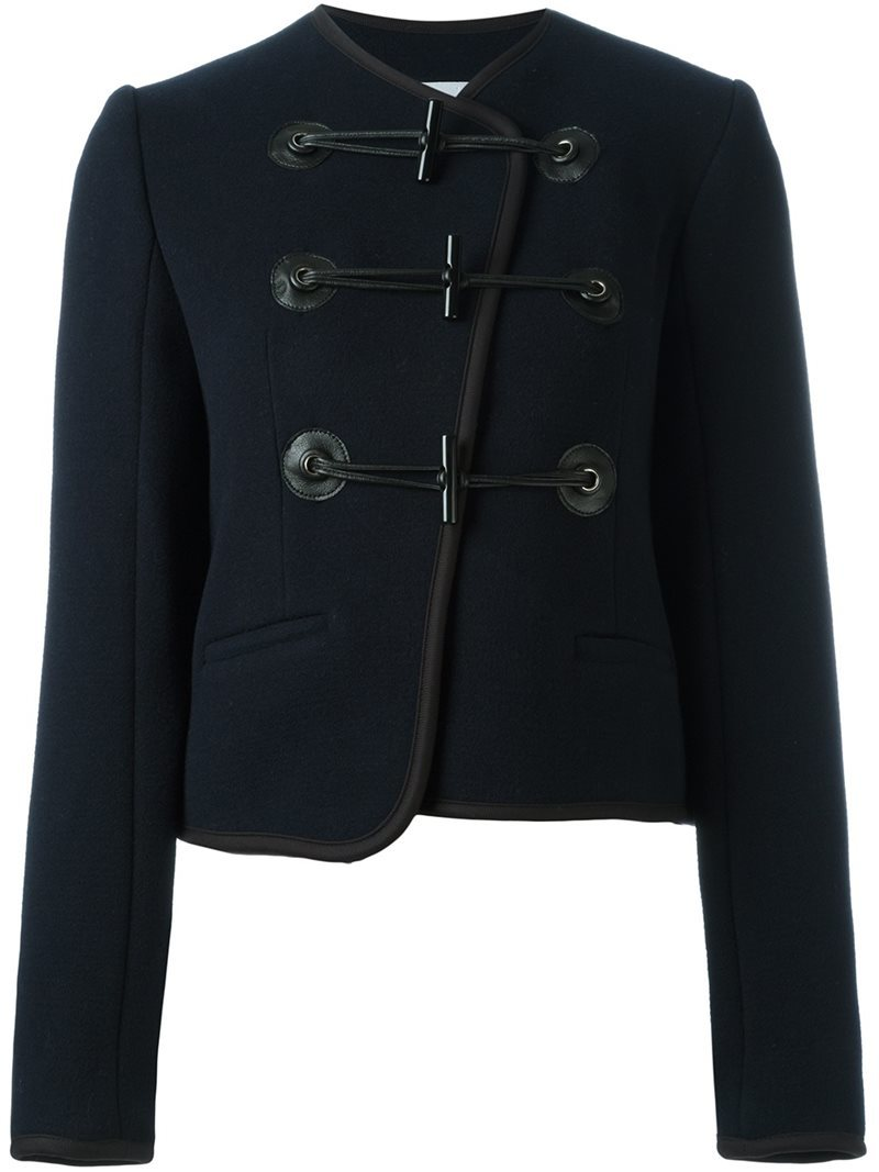 Military Jacket, Women's, Blue - pattern: plain; collar: round collar/collarless; predominant colour: navy; occasions: casual, creative work; length: standard; fit: straight cut (boxy); fibres: wool - mix; sleeve length: long sleeve; sleeve style: standard; collar break: high; pattern type: fabric; texture group: woven light midweight; style: single breasted military jacket; wardrobe: basic; season: a/w 2016