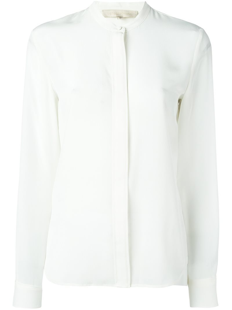 Mandarin Collar Button Down Shirt, Women's, White - pattern: plain; style: shirt; predominant colour: white; occasions: work; length: standard; neckline: collarstand; fibres: silk - 100%; fit: body skimming; sleeve length: long sleeve; sleeve style: standard; texture group: silky - light; pattern type: fabric; season: a/w 2016