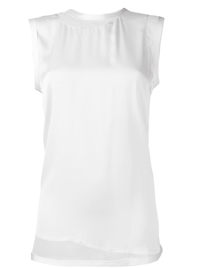 Contrast Panel Tank Top, Women's, Size: Small, White - sleeve style: capped; pattern: plain; predominant colour: ivory/cream; occasions: casual, creative work; length: standard; style: top; fibres: silk - 100%; fit: straight cut; neckline: crew; sleeve length: short sleeve; texture group: silky - light; pattern type: fabric; wardrobe: basic; season: a/w 2016