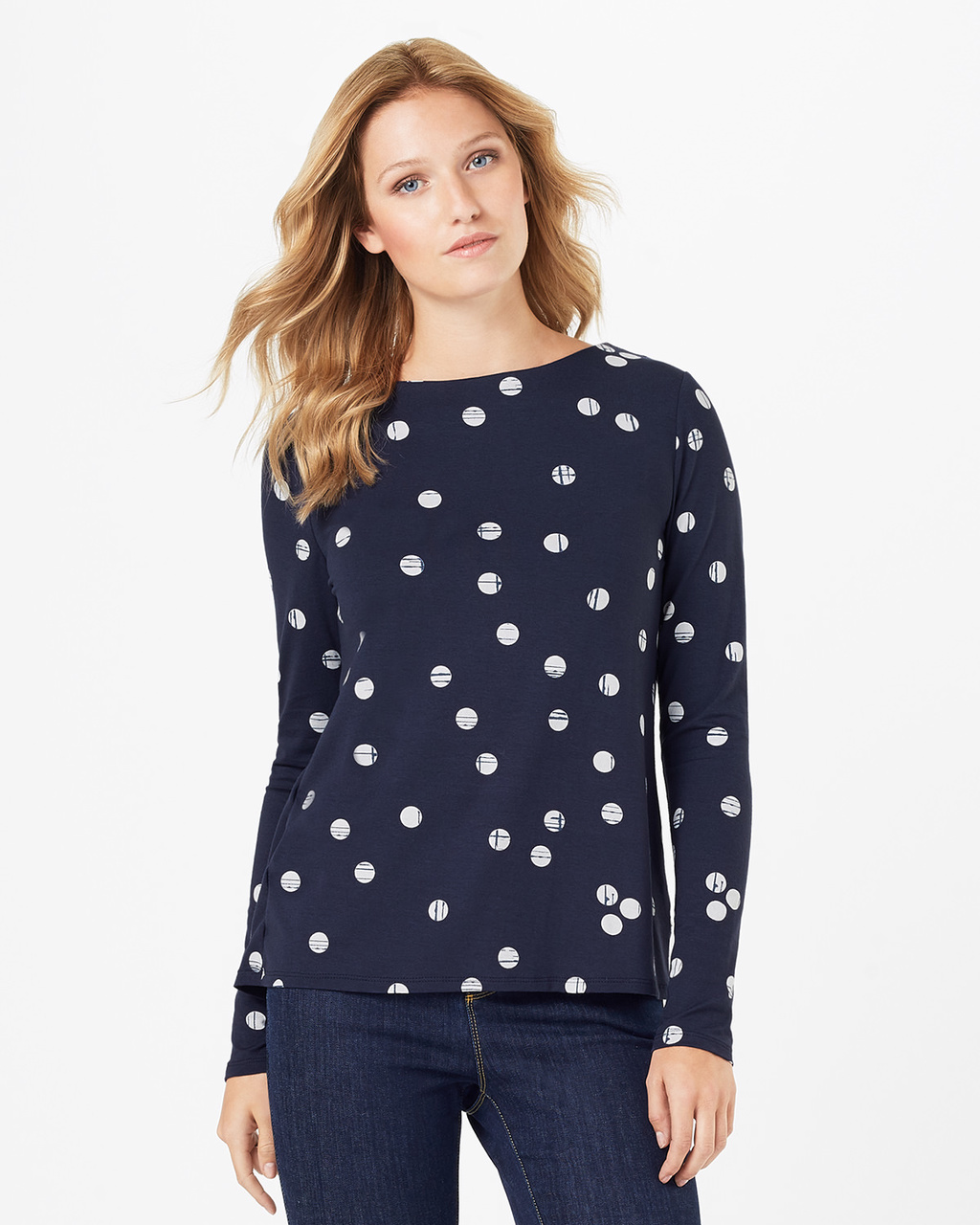 Sue Spot Top - pattern: polka dot; secondary colour: white; predominant colour: navy; occasions: casual; length: standard; style: top; fibres: viscose/rayon - stretch; fit: body skimming; neckline: crew; sleeve length: long sleeve; sleeve style: standard; pattern type: fabric; texture group: jersey - stretchy/drapey; multicoloured: multicoloured; season: a/w 2016; wardrobe: highlight