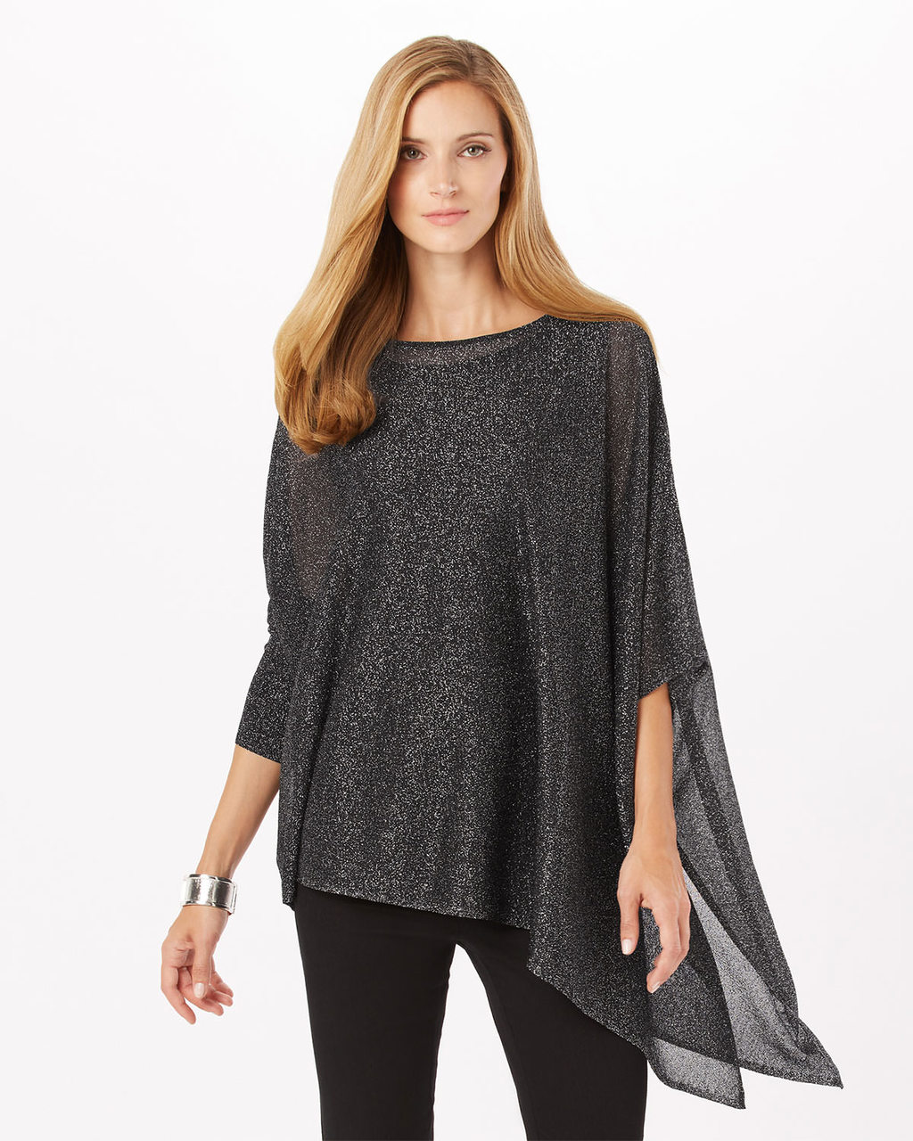 Shimmer Nieve Knit - neckline: round neck; sleeve style: dolman/batwing; pattern: plain; length: below the bottom; style: tunic; predominant colour: charcoal; occasions: casual, creative work; fit: loose; hip detail: dip hem; sleeve length: 3/4 length; texture group: knits/crochet; pattern type: knitted - fine stitch; fibres: viscose/rayon - mix; season: a/w 2016