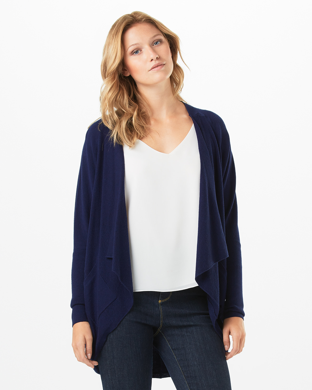 Carys Knitted Cardigan - pattern: plain; neckline: shawl; length: below the bottom; style: open front; predominant colour: navy; occasions: casual; fibres: nylon - mix; fit: loose; sleeve length: long sleeve; sleeve style: standard; texture group: knits/crochet; pattern type: fabric; wardrobe: basic; season: a/w 2016
