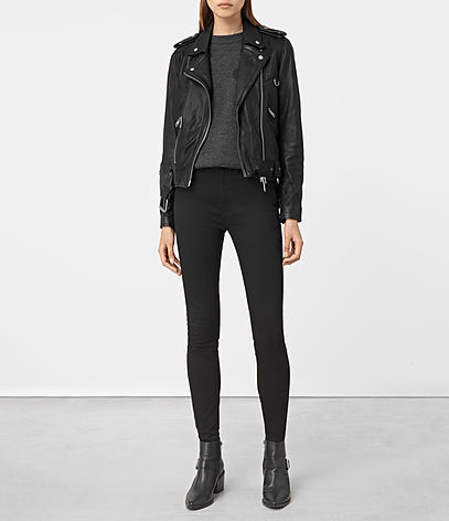 Gidley Leather Biker Jacket - pattern: plain; style: biker; collar: asymmetric biker; fit: slim fit; predominant colour: black; occasions: casual; length: standard; fibres: leather - 100%; sleeve length: long sleeve; sleeve style: standard; texture group: leather; collar break: medium; pattern type: fabric; wardrobe: basic; season: a/w 2016