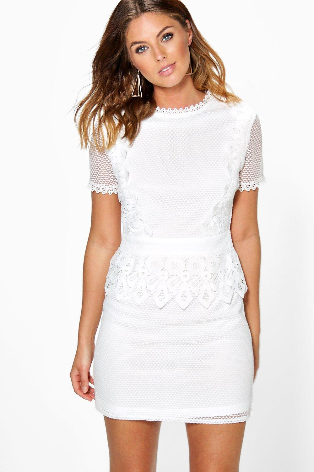 Cait Crochet Lace Peplum Shift Dress Ivory - style: shift; length: mini; fit: tailored/fitted; pattern: plain; waist detail: peplum waist detail; predominant colour: white; occasions: evening; fibres: polyester/polyamide - 100%; neckline: crew; sleeve length: short sleeve; sleeve style: standard; texture group: lace; pattern type: fabric; season: a/w 2016; wardrobe: event
