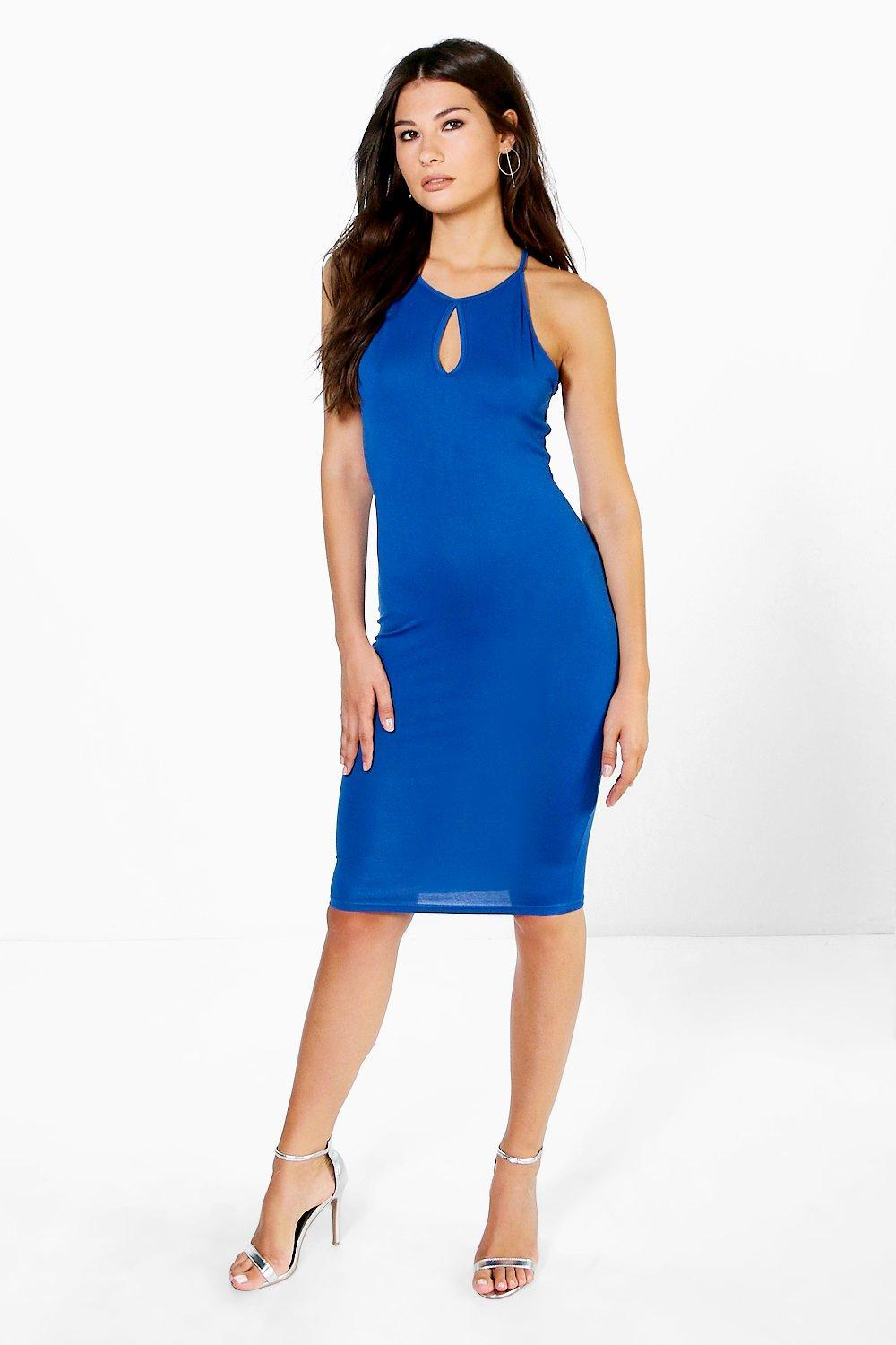 Racer Neck Keyhole Mini Dress Cobalt - fit: tight; pattern: plain; sleeve style: sleeveless; style: bodycon; predominant colour: royal blue; occasions: evening; length: on the knee; neckline: peep hole neckline; fibres: polyester/polyamide - stretch; sleeve length: sleeveless; texture group: jersey - clingy; pattern type: fabric; season: a/w 2016; wardrobe: event