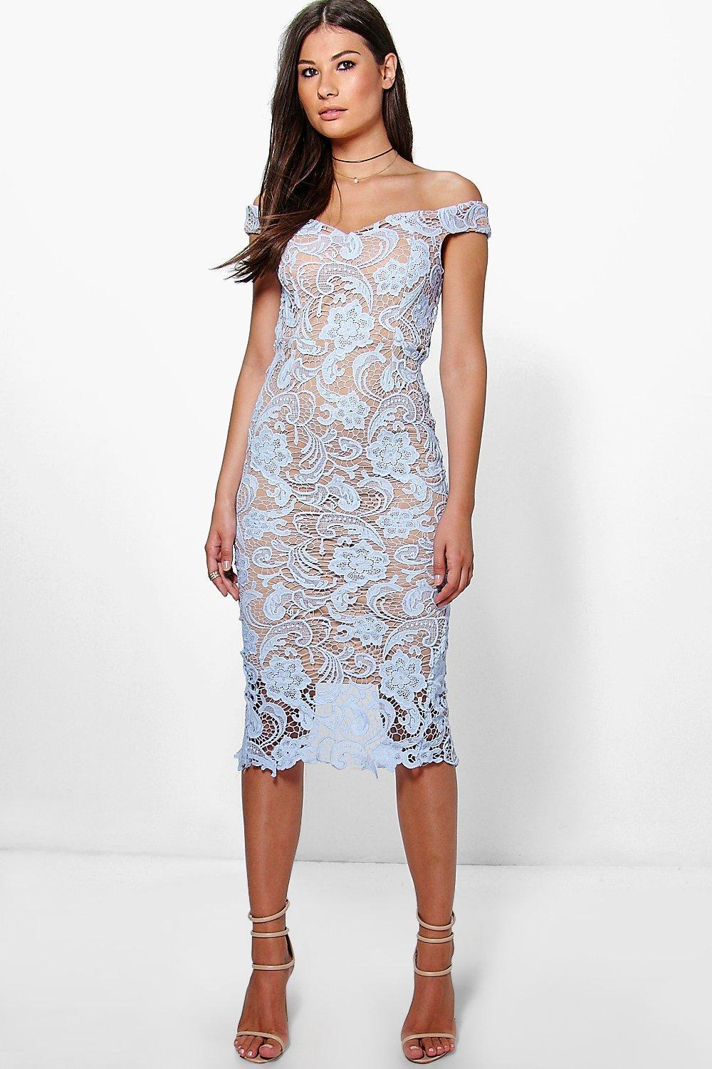 Marcie Lace Off Shoulder Midi Dress Blue - length: below the knee; neckline: off the shoulder; sleeve style: capped; fit: tight; style: bodycon; predominant colour: pale blue; occasions: evening; fibres: polyester/polyamide - stretch; sleeve length: short sleeve; texture group: lace; pattern type: fabric; pattern size: standard; pattern: patterned/print; season: a/w 2016; wardrobe: event