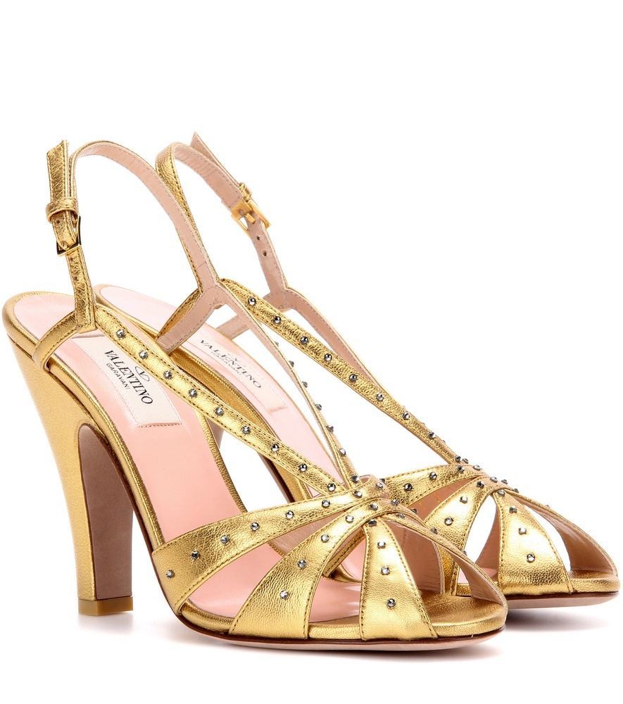 Garavani Crystal Embellished Metallic Leather Sandals - predominant colour: gold; occasions: evening, occasion; material: leather; heel height: high; embellishment: crystals/glass; heel: standard; toe: open toe/peeptoe; style: strappy; finish: metallic; pattern: plain; season: a/w 2016; wardrobe: event