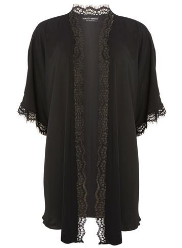 Womens Dp Curve Plus Size Black Eyelash Lace Kimono Black - pattern: plain; length: below the bottom; neckline: collarless open; style: open front; predominant colour: black; occasions: evening; fibres: polyester/polyamide - 100%; fit: loose; sleeve length: half sleeve; sleeve style: standard; pattern type: fabric; texture group: other - light to midweight; embellishment: lace; season: a/w 2016; wardrobe: event; embellishment location: trim
