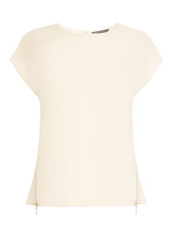 Womens Blush Zip Side Tee Blush - neckline: round neck; pattern: plain; style: t-shirt; predominant colour: blush; occasions: casual, creative work; length: standard; fibres: polyester/polyamide - stretch; fit: body skimming; sleeve length: sleeveless; sleeve style: standard; pattern type: fabric; texture group: other - light to midweight; wardrobe: basic; season: a/w 2016