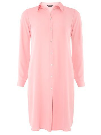 Womens Pink Maxi Split Shirt Pink - neckline: shirt collar/peter pan/zip with opening; pattern: plain; style: shirt; predominant colour: pink; occasions: casual; fibres: polyester/polyamide - 100%; fit: body skimming; length: mid thigh; sleeve length: long sleeve; sleeve style: standard; pattern type: fabric; texture group: other - light to midweight; season: a/w 2016