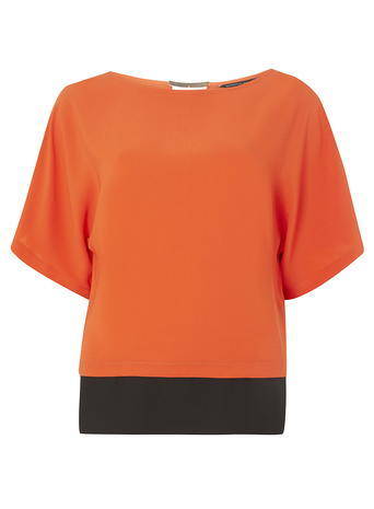 Womens Orange Bar Front Tee Orange - neckline: round neck; pattern: plain; style: t-shirt; predominant colour: bright orange; occasions: casual, creative work; length: standard; fibres: polyester/polyamide - 100%; fit: body skimming; sleeve length: short sleeve; sleeve style: standard; texture group: sheer fabrics/chiffon/organza etc.; pattern type: fabric; season: a/w 2016; wardrobe: highlight