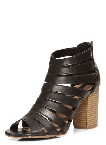Womens Black 'senna' Cut Out Sandals Black - predominant colour: black; occasions: casual; material: faux leather; heel height: high; ankle detail: ankle strap; heel: block; toe: open toe/peeptoe; style: strappy; finish: plain; pattern: plain; wardrobe: investment; season: a/w 2016