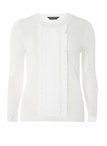 Womens Ivory Frill Front Jumper White - neckline: round neck; pattern: plain; style: standard; predominant colour: white; occasions: casual, creative work; length: standard; fibres: acrylic - mix; fit: slim fit; sleeve length: long sleeve; sleeve style: standard; texture group: knits/crochet; pattern type: knitted - fine stitch; season: a/w 2016