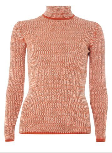 Womens Orange Space Dye Roll Neck Jumper Orange - neckline: roll neck; style: standard; predominant colour: bright orange; occasions: casual, creative work; length: standard; fibres: acrylic - mix; fit: slim fit; sleeve length: long sleeve; sleeve style: standard; texture group: knits/crochet; pattern type: knitted - fine stitch; pattern size: light/subtle; pattern: marl; season: a/w 2016; wardrobe: highlight