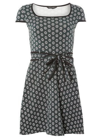 Womens Green Mini Floral Print Dress Green - neckline: round neck; waist detail: belted waist/tie at waist/drawstring; secondary colour: white; predominant colour: mid grey; occasions: casual; length: just above the knee; fit: fitted at waist & bust; style: fit & flare; fibres: cotton - stretch; sleeve length: short sleeve; sleeve style: standard; pattern type: fabric; pattern: florals; texture group: jersey - stretchy/drapey; multicoloured: multicoloured; season: a/w 2016; wardrobe: highlight