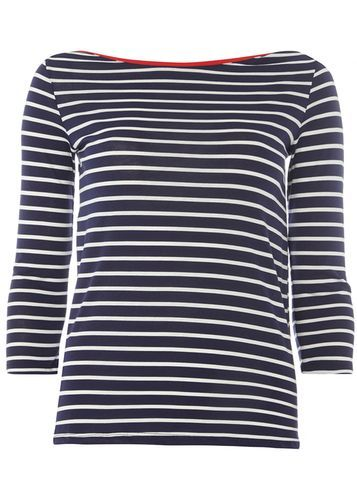 Womens Navy Stripe 3/4 Sleeve Tee Navy - neckline: round neck; pattern: horizontal stripes; style: t-shirt; secondary colour: white; predominant colour: navy; occasions: casual; length: standard; fibres: cotton - 100%; fit: body skimming; sleeve length: 3/4 length; sleeve style: standard; pattern type: fabric; texture group: jersey - stretchy/drapey; multicoloured: multicoloured; season: a/w 2016