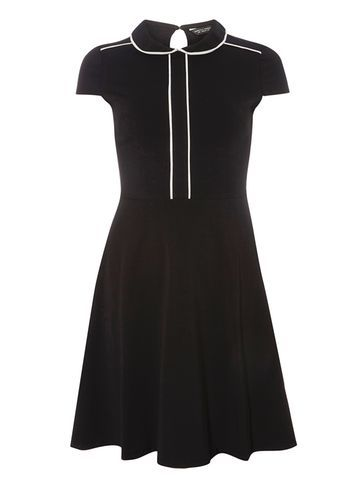 Womens Black And Ivory Collar Dress Black - sleeve style: capped; pattern: plain; secondary colour: ivory/cream; predominant colour: black; occasions: evening; length: just above the knee; fit: fitted at waist & bust; style: fit & flare; fibres: cotton - stretch; neckline: no opening/shirt collar/peter pan; sleeve length: short sleeve; pattern type: fabric; texture group: jersey - stretchy/drapey; season: a/w 2016