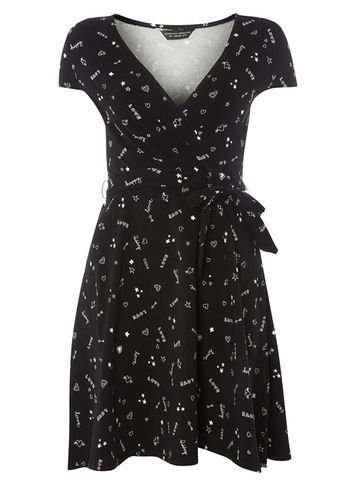 Womens Black Doodle Wrap Dress Black - style: faux wrap/wrap; neckline: v-neck; waist detail: belted waist/tie at waist/drawstring; secondary colour: mid grey; predominant colour: black; occasions: evening; length: just above the knee; fit: body skimming; fibres: cotton - stretch; sleeve length: short sleeve; sleeve style: standard; pattern type: fabric; pattern: patterned/print; texture group: jersey - stretchy/drapey; multicoloured: multicoloured; season: a/w 2016; wardrobe: event