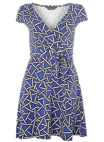 Womens Blue Shattered Geo Print Wrap Dress Blue - style: faux wrap/wrap; neckline: v-neck; sleeve style: capped; waist detail: belted waist/tie at waist/drawstring; secondary colour: ivory/cream; predominant colour: denim; occasions: evening; length: just above the knee; fit: body skimming; fibres: cotton - stretch; sleeve length: short sleeve; pattern type: fabric; pattern: patterned/print; texture group: jersey - stretchy/drapey; multicoloured: multicoloured; season: a/w 2016