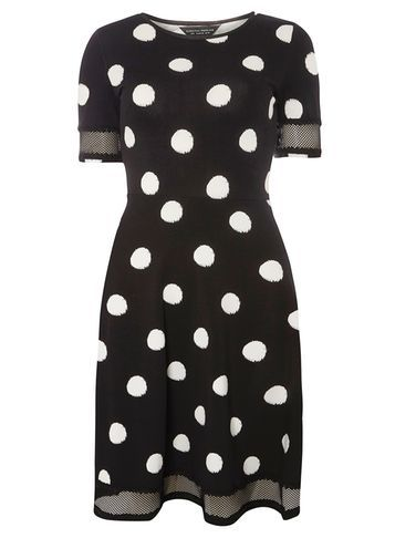 Womens Black Spot Lace Insert Dress Black - style: shift; pattern: polka dot; secondary colour: white; predominant colour: black; occasions: evening; length: just above the knee; fit: body skimming; fibres: cotton - stretch; neckline: crew; sleeve length: short sleeve; sleeve style: standard; pattern type: fabric; texture group: jersey - stretchy/drapey; multicoloured: multicoloured; season: a/w 2016