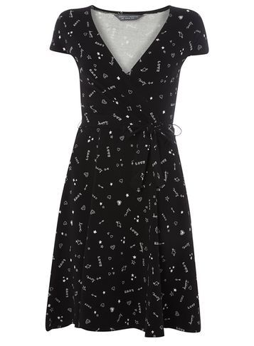 Womens **Tall Black Doodle Wrap Dress Black - style: faux wrap/wrap; neckline: v-neck; sleeve style: capped; waist detail: belted waist/tie at waist/drawstring; secondary colour: mid grey; predominant colour: black; occasions: evening; length: just above the knee; fit: body skimming; fibres: cotton - stretch; sleeve length: short sleeve; pattern type: fabric; pattern: patterned/print; texture group: jersey - stretchy/drapey; multicoloured: multicoloured; season: a/w 2016