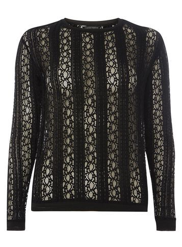 Womens Black Lace Long Sleeve Top Black - pattern: plain; predominant colour: black; occasions: evening; length: standard; style: top; fibres: polyester/polyamide - stretch; fit: body skimming; neckline: crew; sleeve length: long sleeve; sleeve style: standard; texture group: lace; pattern type: fabric; embellishment: lace; season: a/w 2016; wardrobe: event