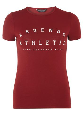 Womens Wine Legend Athletic Tee Red - style: t-shirt; secondary colour: white; predominant colour: true red; occasions: casual; length: standard; fit: body skimming; neckline: crew; sleeve length: short sleeve; sleeve style: standard; pattern type: fabric; pattern size: standard; texture group: jersey - stretchy/drapey; fibres: viscose/rayon - mix; pattern: graphic/slogan; multicoloured: multicoloured; season: a/w 2016; wardrobe: highlight