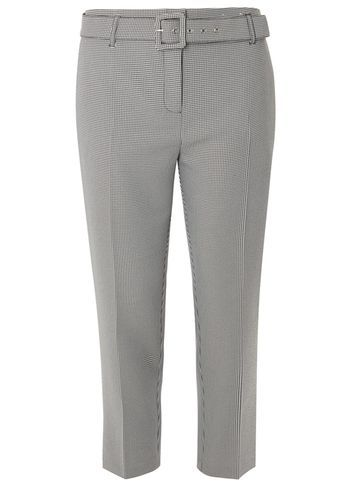 Womens Monochrome Dogstooth Tapered Trousers Black - waist detail: belted waist/tie at waist/drawstring; waist: mid/regular rise; predominant colour: light grey; occasions: work; length: calf length; fibres: polyester/polyamide - 100%; pattern: dogtooth; fit: slim leg; pattern type: fabric; texture group: woven light midweight; style: standard; season: a/w 2016; wardrobe: highlight