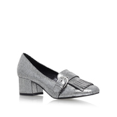 Agatha - predominant colour: silver; occasions: evening; material: leather; heel height: mid; heel: block; toe: round toe; style: courts; finish: metallic; pattern: plain; embellishment: fringing; season: a/w 2016