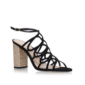 Hallie - predominant colour: black; occasions: evening; material: leather; heel height: high; ankle detail: ankle strap; heel: block; toe: open toe/peeptoe; style: strappy; finish: plain; pattern: colourblock; season: a/w 2016