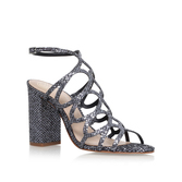 Hallie - predominant colour: silver; occasions: evening; material: leather; heel height: high; embellishment: glitter; ankle detail: ankle strap; heel: block; toe: open toe/peeptoe; style: strappy; finish: metallic; pattern: plain; season: a/w 2016; wardrobe: event