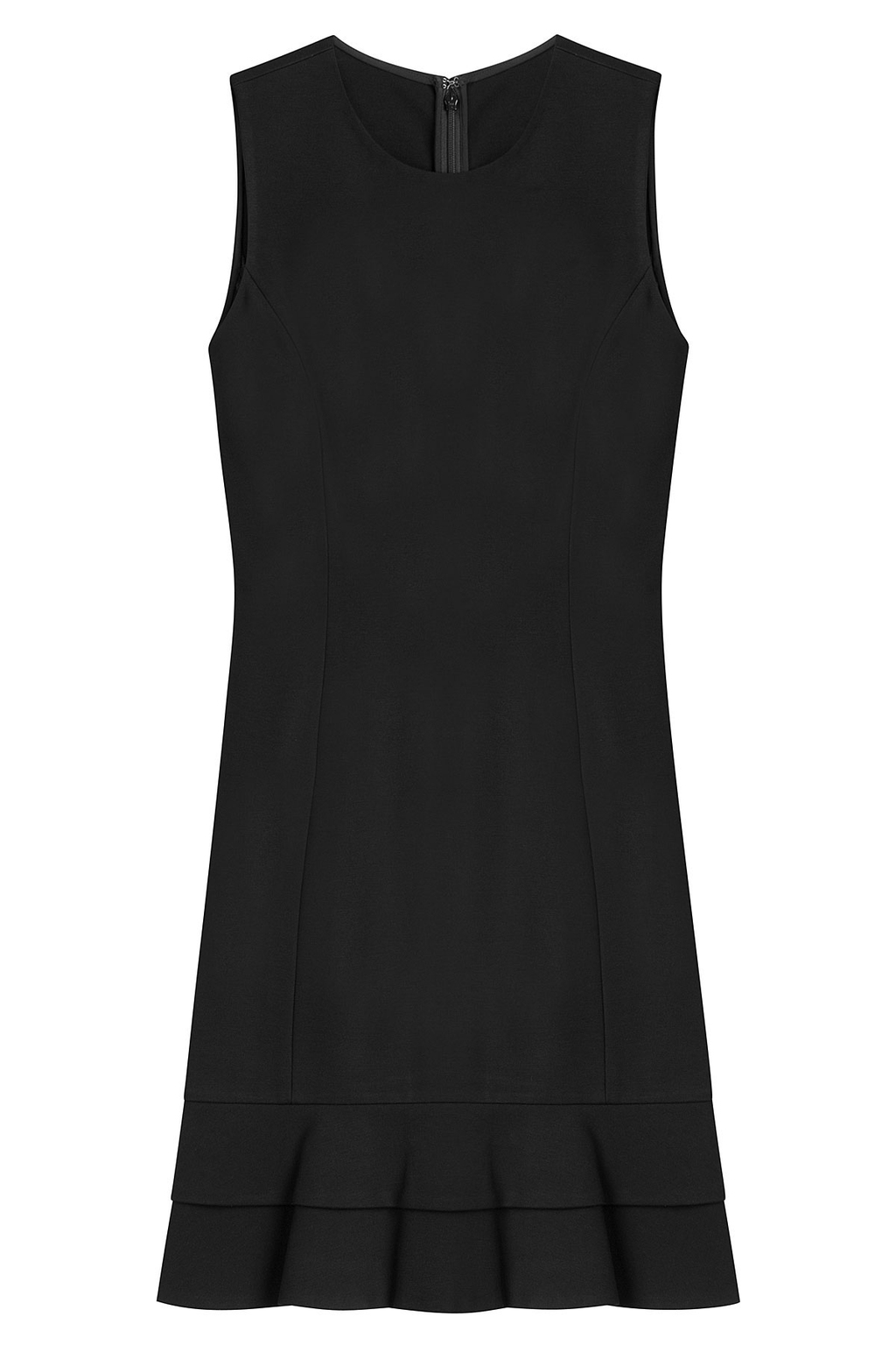 Dress With Ruffles - style: shift; pattern: plain; sleeve style: sleeveless; predominant colour: black; occasions: evening; length: just above the knee; fit: body skimming; fibres: viscose/rayon - stretch; neckline: crew; sleeve length: sleeveless; pattern type: fabric; texture group: jersey - stretchy/drapey; season: a/w 2016; wardrobe: event