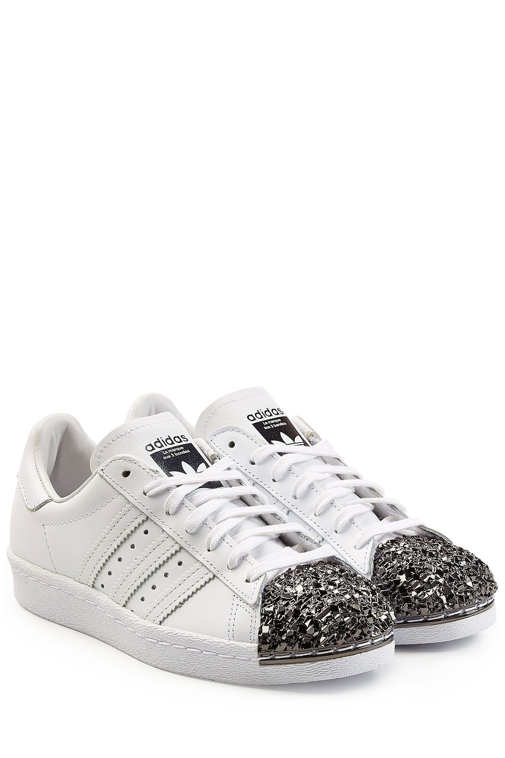 Superstar 80s Leather Sneakers White - predominant colour: white; occasions: casual; material: leather; heel height: flat; embellishment: crystals/glass; toe: round toe; style: trainers; finish: plain; pattern: plain; wardrobe: basic; season: a/w 2016