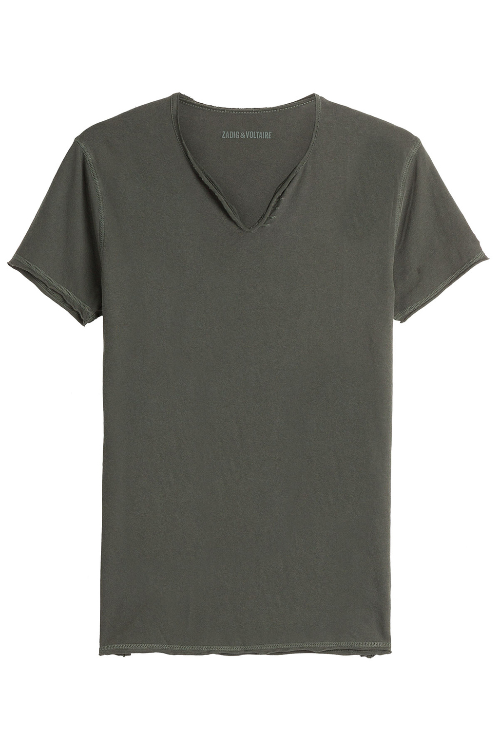 Monas Mc Overdyed Cotton T Shirt Green - neckline: v-neck; pattern: plain; style: t-shirt; predominant colour: dark green; occasions: casual; length: standard; fibres: cotton - 100%; fit: body skimming; sleeve length: short sleeve; sleeve style: standard; texture group: jersey - clingy; pattern type: fabric; season: a/w 2016