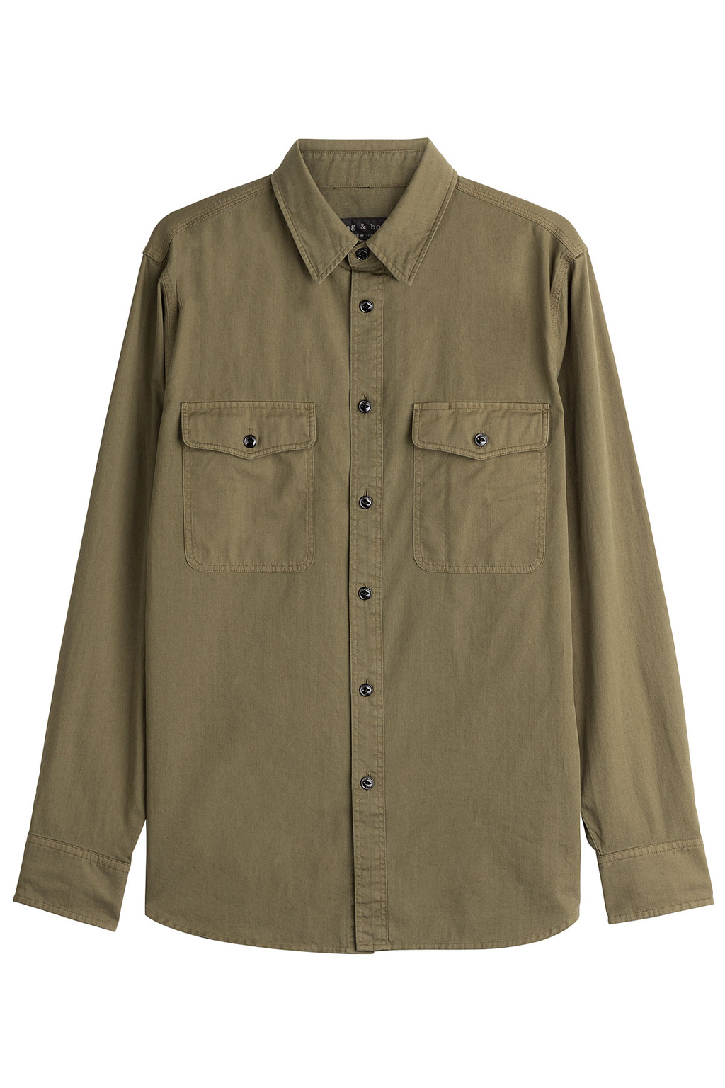 Cotton Shirt - neckline: shirt collar/peter pan/zip with opening; pattern: plain; style: shirt; predominant colour: khaki; occasions: casual; length: standard; fibres: cotton - 100%; fit: body skimming; sleeve length: long sleeve; sleeve style: standard; texture group: cotton feel fabrics; pattern type: fabric; wardrobe: basic; season: a/w 2016