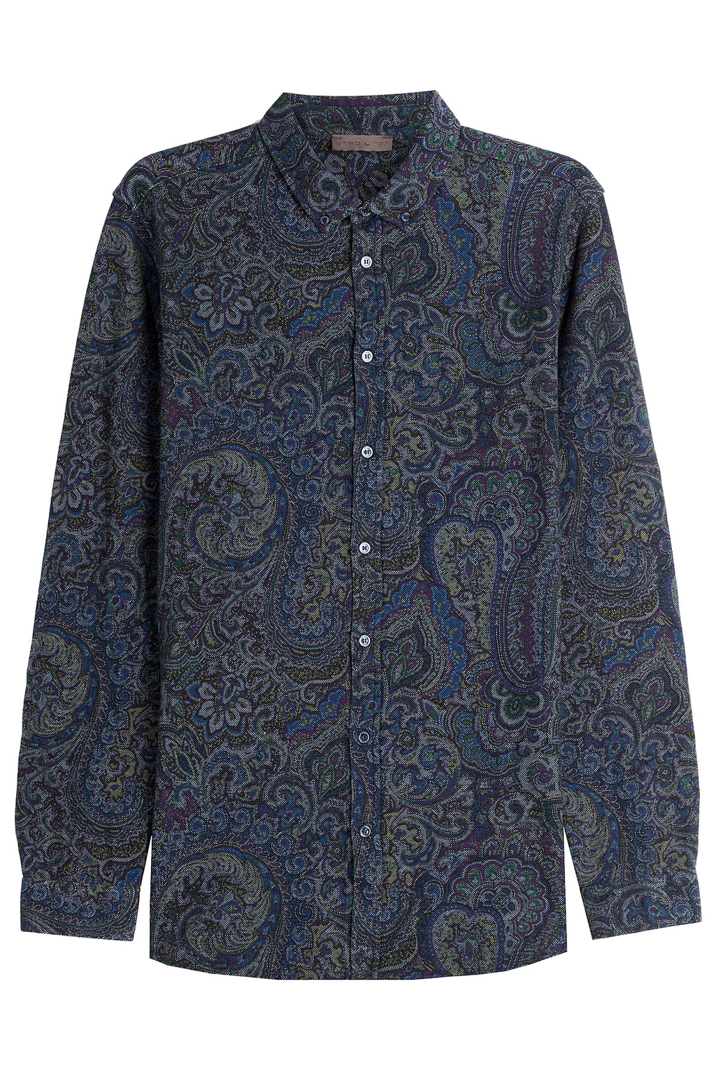 Printed Cotton Shirt - neckline: shirt collar/peter pan/zip with opening; style: shirt; pattern: paisley; predominant colour: navy; occasions: casual; length: standard; fibres: cotton - 100%; fit: body skimming; sleeve length: long sleeve; sleeve style: standard; pattern type: fabric; texture group: woven light midweight; season: a/w 2016; wardrobe: highlight